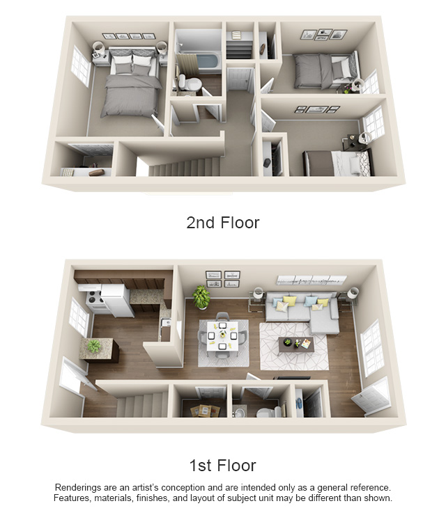 Floorplans 400 north townhomes for Three bedroom townhomes for rent